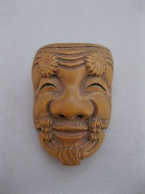 Antique Japanese Carved Netsuke Theater Mask~Miniature~Signed