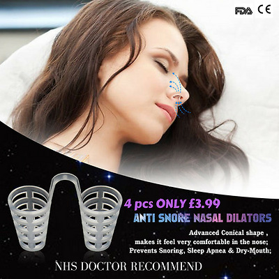 Anti Snore Nose Cones Nasal Dilator Vents Sportsaid Breath Easy 4 Pieces