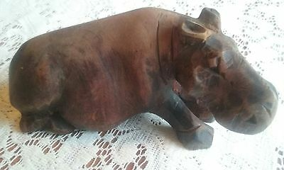"Beautiful vintage hand carved hippo! Out of old wood!  6"" long by 3"" tall"