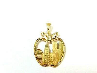 14k Yellow Gold New York Skyline in Apple Charm Pendant 19mmx12mm