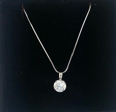 2 Ct Round Cut 14K White Gold Solitaire Pendant Necklace Snake Chain