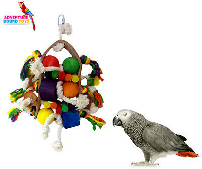 Large Firework 39Cm Wood Rope & Leather Chunky Colourful Parrot Cage Toy 3526