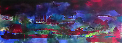 Original Contemporary Abstract Expressionist Landscape Painting on Board