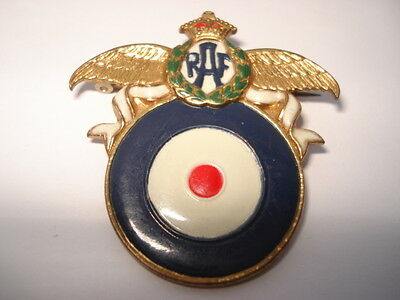 Unusual Cww2 Vintage Raf Roundel & Wings Painted Gilt Sweethhearts Pin Brooch