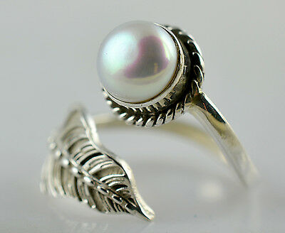 Fresh Water Pearl 925 Solid Sterling Silver Handmade Leaf Ring Size 3-13 US