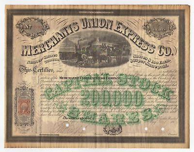 1867 Merchants Union Express Co. Stock Certificate with Revenue Stamp