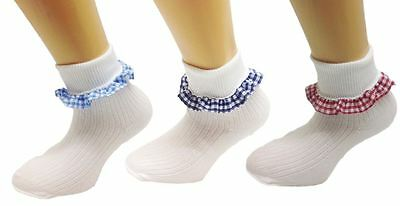 3 Pairs White Soft Cotton School Girls Ankle Socks with Gingham Trims Schoolwear