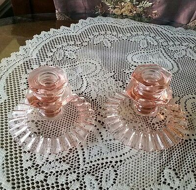 Vintage pink glass candle holders set of 2