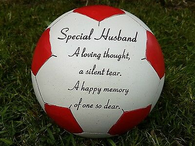 Husband Grave Memorial Ornament Remembrance Red Football  Plaque Husband