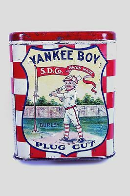 "EXTREMELY RARE - "" YANKEE BOY "" Burley Cut Plug Tobacco Tin - S.D. Co. Detroit"