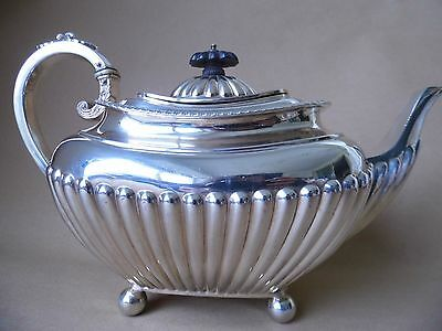 Large Victorian Sterling Silver Fluted Gadrooned Teapot 1894