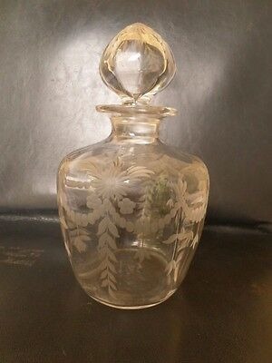 Antique Signed Hawkes Glass Etched Perfume Bottle Or Decanter