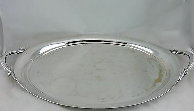 """Vintage Silver Plated On Copper Serving Butler's Oval Handled Tray 25"""""""
