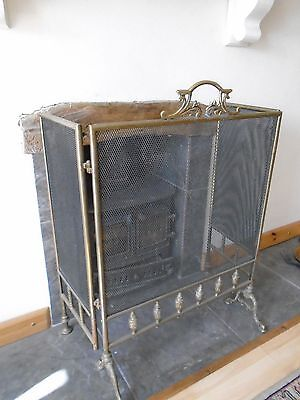 Antique Victorian Fireguard Screen Free Standing Heavy Brass Metal