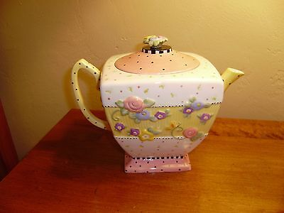 Large MARY ENGELBREIT Teapot with Embossed Flowers  MINT 1999