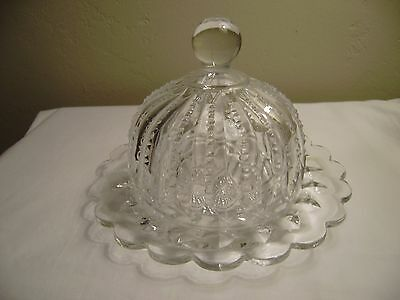Cut Glass BUTTER or CHEESE DISH with Domed Cover  MINT