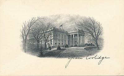 Grace Coolidge- Signed Engraving Card of the White House