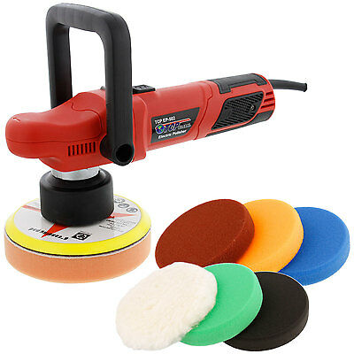 "6"" Variable Speed Random Orbit Dual-Action Polisher, 6 Buffing & Polishing Pads"