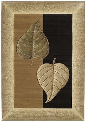 "CONTEMPORARY brown BORDER 2x8 area rug LEAF runner : Actual Size 2' 7"" x 7' 4"""