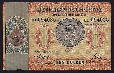 Netherlands Indies One Gulden Banknote 1940 P-108a