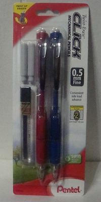 2 Pentel Twist-Erase Side Click Mechanical Pencils RED/BLUE BARRELS 0.5mm