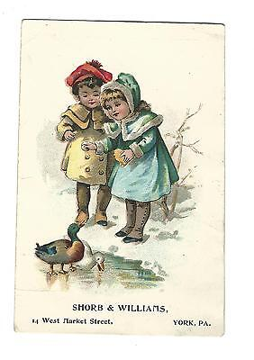 Old Advertising Trade Card Shorb & Williams Shoes York PA Girls Ducks