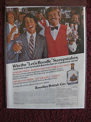 1982 Print Ad Boodles British Gin ~ Boodle Sweepstakes Happy Bar