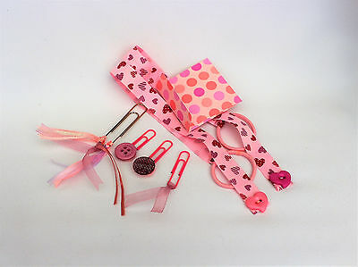 Tassel clips, bookmark set, ribbon bookmarks, PINK, planner accessories