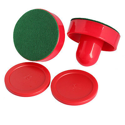 2Pcs 75mm Air Hockey Table Felt Pusher with 2pcs 63mm Puck Mallet Goalies
