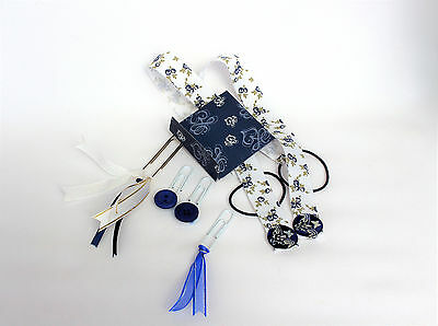 Bookmark set, ribbon bookmarks, NAVY, WHITE, planner accessories, tassel clips