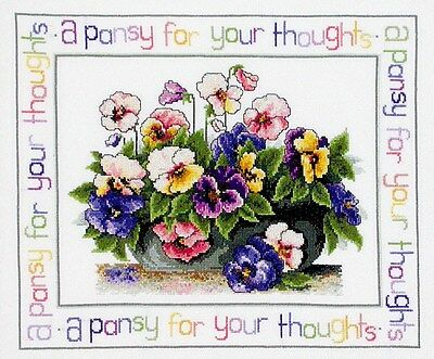 Pansy Thoughts - Cross Stitch Chart from Country Threads