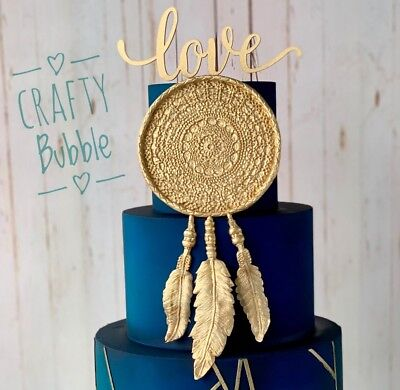 'LOVE' Gold Glittery wooden Hand made cake topper wedding anniversary engagement