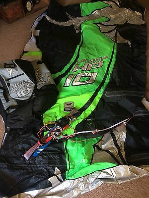 Best Nemesis HP Kiteboard 10M Kiteboarding Kitesurfing With Bar Line Kite EUC!!