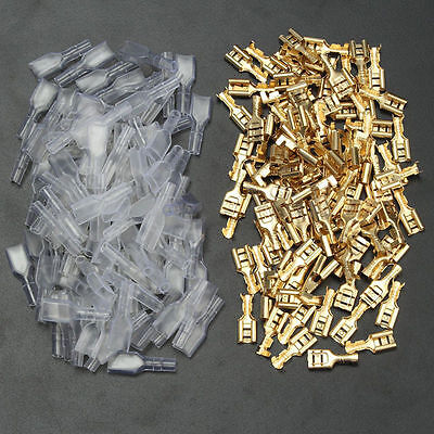 200x Female Spade Insulated Connectors Crimp Electrical Terminals Wiring 6.3mm