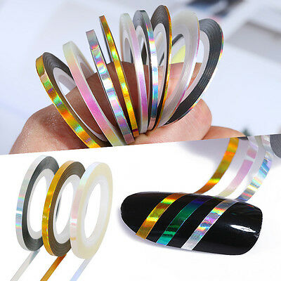 3 Rolls Laser Holographic Nail Striping Tape Line Adhesive Decals Styling Tips