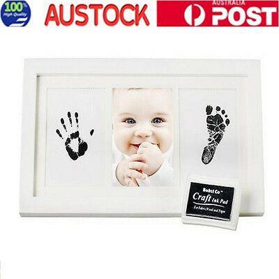 Baby Safe Ink Hand Foot Imprint Kit Shadow Frame Kid Shower Keepsake White Color