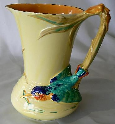 Burleigh Ware 1930s English Art Deco handpainted Kingfisher jug/pitcher 5103