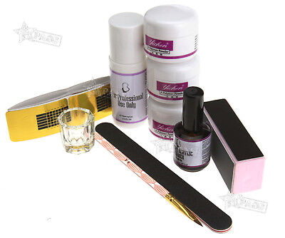 29PCS Acrylic White/Clear/Pink Nail Art Powder Primer Liquid Brush Pen Files Kit