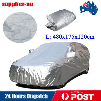 Aluminum Waterproof Double thicker Car Cover Rain Resistant UV Dust Large L Size