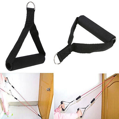 Single Stirrup Handle Foam Grip With D Ring Cable Attachment Fitness Strength