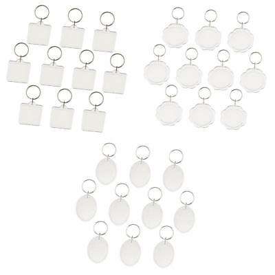 30x Acrylic Keychains Clear Blank Photo Picture Keyrings Key Chains Inserts
