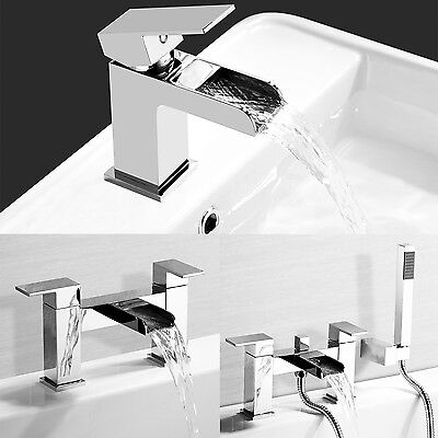 New Modern Chrome Waterfall Bath Filler Shower Basin Mixer Tap Bathroom Taps