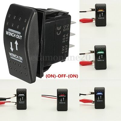 12V 20A (ON)-OFF-(ON) Rocker Switch Momentary Winch In Winch Out Car LED 7-Pin
