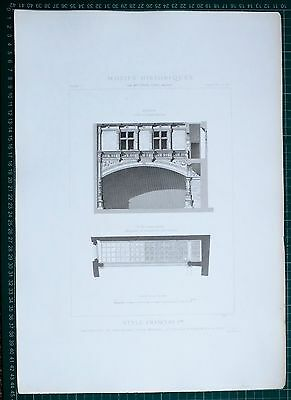 1880 French Architecture Print Style Francois Ancient Hotel De Jean Nernui