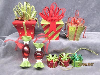Lot Of 8 Colorful Presents With Sparkly Bows & Bells Christmas Ornaments