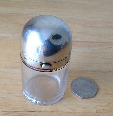 Antique London 1877 Solid Silver Lidded Glass Dressing Pot/Jar - W.Thornhill A/F