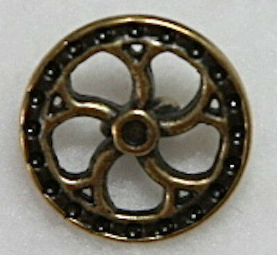 """5/8"""" Metal Antique Brass Color Steampunk Flywheel Shank Style Buttons - 3 Each"""
