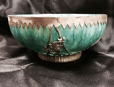 ViNTAGE Antique China Silver carve lucky Dragon & Phoenix Craft Green Jade Bowl