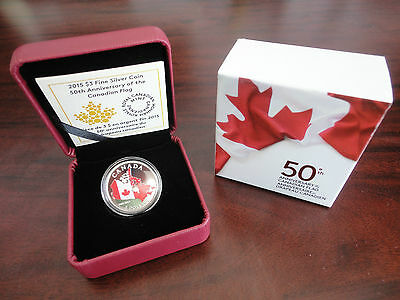 2015 Canada Coloured Map Silver Coin, 50th Anniversary Of Canadian Flag, No Tax