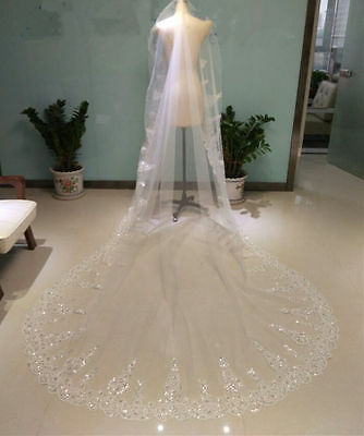 Crystals Bridal Wedding Veil Cathedral Long 1Tier With Metal comb 3M lace veil